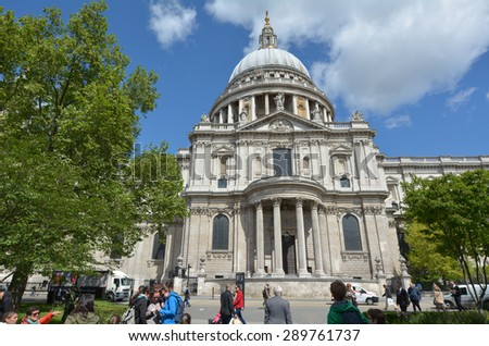 LONDON, UK - MAY 12 2015:St Pauls Cathedral London England, UK.It is one of the most famous and most recognisable sights of London.Its dome is the third largest and one of the highest in the world.