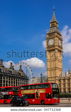 LONDON, UK - MAY 31, 2013: Symbols of London: Big Ben tower, Red Double-decker bus, traditional taxi cab and London Eye. - stock photo