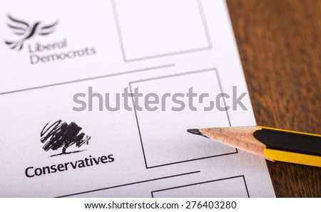LONDON, UK - MAY 7TH 2015: Conservatives on a UK Ballot Paper for a General Election, on 7th May 2015. - stock photo