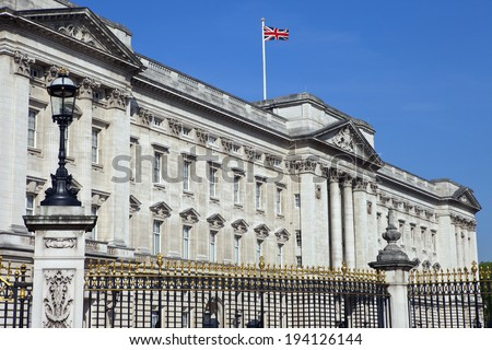 LONDON, UK - MAY 16TH 2014: The historic Buckingham Palace in London on 16th May 2014. - stock photo