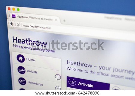 LONDON, UK - MAY 17TH 2017: The homepage of the official website for Heathrow International Airport, on 17th May 2017.  Heathrow is the third busiest airport in the world based on passenger traffic.
