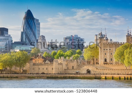 London, UK - May 14, 2016; The Tower of London and the Skyline of St. Mary Axe, by the River Thames