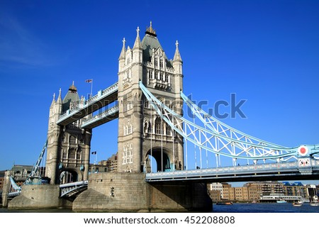 London, UK, May 11 2008 - Tower Bridge which was designed and built between 1886-1894 - stock photo