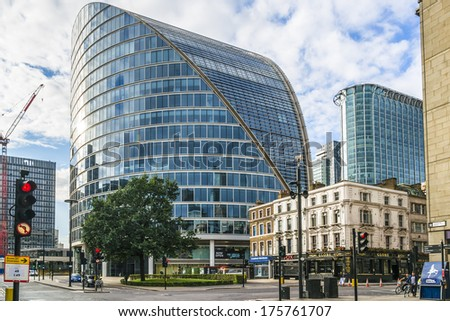 LONDON, UK - MAY 26, 2013: View of Moor House (Norman Foster , 2004) - office building in City of London. It is located on northern edge of financial district and is one of largest buildings in area.