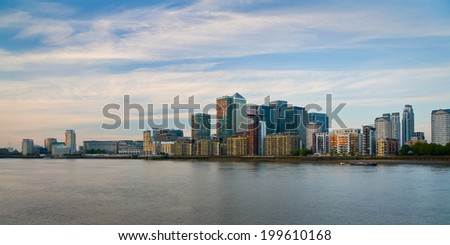London, UK - May 4 2011: View of the Canary Wharf from Canada Water.