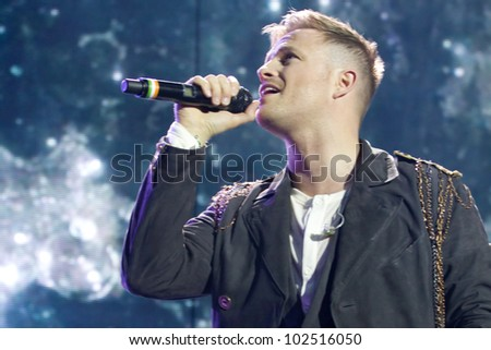 LONDON, UK - MAY 12: Westlife perform the first of their fairwell tour nights at London O2 arena on the MAY 12, 2012 in London, Uk