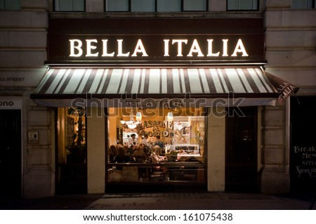 LONDON, UK - NOV 2: people have dinner at italian restaurant Bella Italia in Regent's Street in London on November 2, 2013. London is regarded as one of the world's best dining destinations. - stock photo