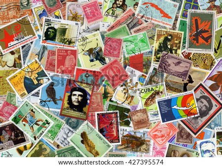 London, UK, November 12 2010, A large Cuba postage stamp collection - stock photo