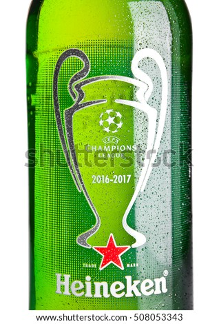 LONDON,UK -NOVEMBER 01, 2016: Bottle of Heineken Lager Beer on white background. Champions league 2016-2017. Heineken is the flagship product of Heineken International