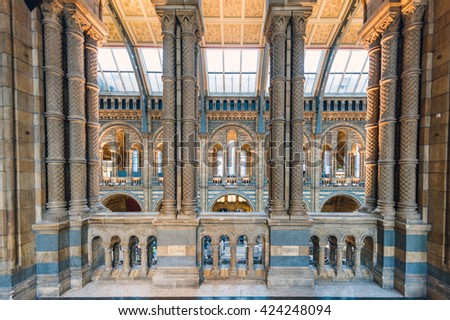 LONDON, UK - NOVEMBER 10, 2015: National History Museum, is one of the most favourite museum for families in London. - stock photo