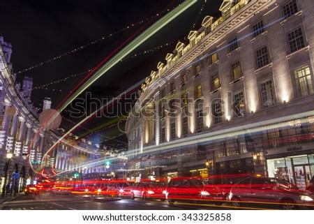 LONDON, UK - NOVEMBER 24TH 2015: The beautiful Christmas lights on Regent Street in London, on 24th November 2015. - stock photo
