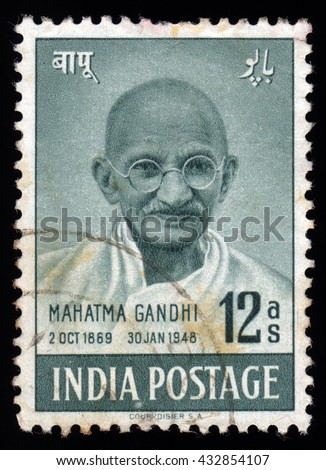 London, UK, November 25 2010 - Vintage 1948 India cancelled postage stamp showing an engraved portrait image of Mahatma Gandhi