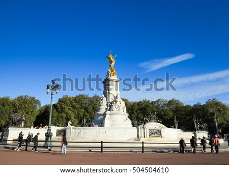 LONDON, UK - October 10, 2016. Buckingham palace with Queen Victoria memorial and golden angel statue