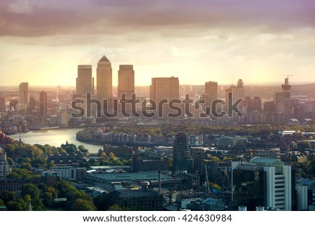 LONDON, UK - OCTOBER 14, 2015.  Canary Wharf business and banking aria