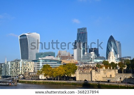 LONDON, UK - OCTOBER 26, 2015 - City of London view, financial district in London, United Kingdom. London is one of the most important capital cities in the world and one of the biggest