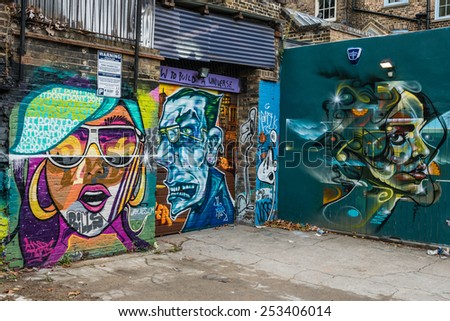 LONDON, UK - OCTOBER 11, 2014 : Graffiti street art in the Brick Lane area of central London in the UK.