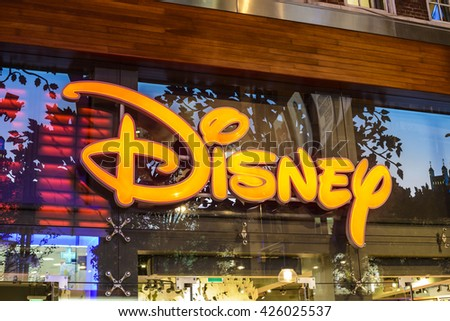 "LONDON, UK - OCTOBER 11: Logo of the brand ""Disney"" on the store in Oxford Street on Oct 11 2015 in London, United Kingdom, Europe"