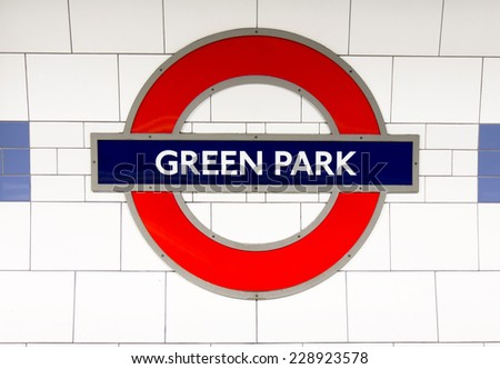 LONDON, UK - OCTOBER 17 , 2014: Metro station sign Piccadilly circus on the Piccadilly, Jubilee and Victoria line in London, UK, October 17, 2014.  - stock photo
