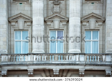 LONDON, UK - OCTOBER 4, 2016: Royal balcony of Buckingham palace. The residence of queen Elizabeth II the monarch of the United Kingdom.  - stock photo