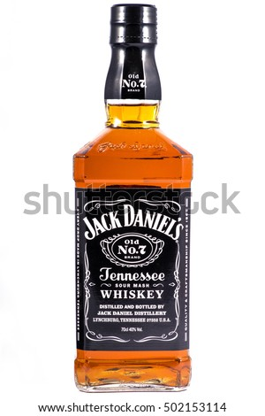 LONDON, UK - OCTOBER 21ST 2016: A bottle of Jack Daniels Tennessee Whiskey over a plain white background, on 21st October 2016.