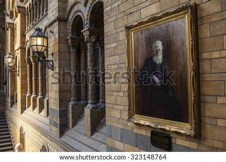 LONDON, UK - OCTOBER 1ST 2015: A painting of Alfred Russel Wallace in the Natural History Museum in London, on 1st October 2015.  - stock photo