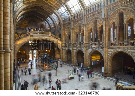 LONDON, UK - OCTOBER 1ST 2015: An interior view of the magnificent Natural History Museum in London, on 1st October 2015. - stock photo