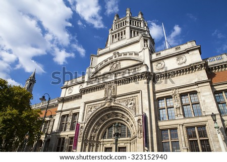 LONDON, UK - OCTOBER 1ST 2015: The impressive facade of the Victoria and Albert Museum in London, on 1st October 2015. - stock photo