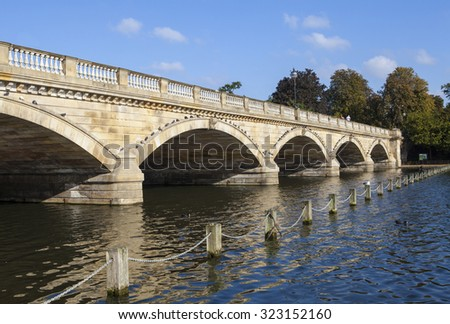 LONDON, UK - OCTOBER 1ST 2015: The Serpentine Bridge spanning over the Serpentine Lake in Hyde Park, London on 1st October 2015.
