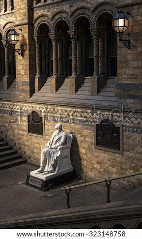 LONDON, UK - OCTOBER 1ST 2015: The statue of Charles Darwin in the Natural History Museum in London, on 1st October 2015. - stock photo