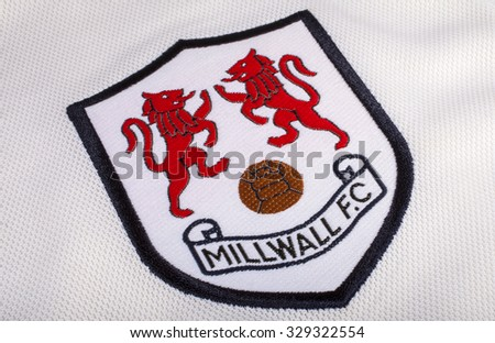LONDON, UK - OCTOBER 19TH 2015: The club crest on a Millwall FC shirt, on 19th October 2015. - stock photo