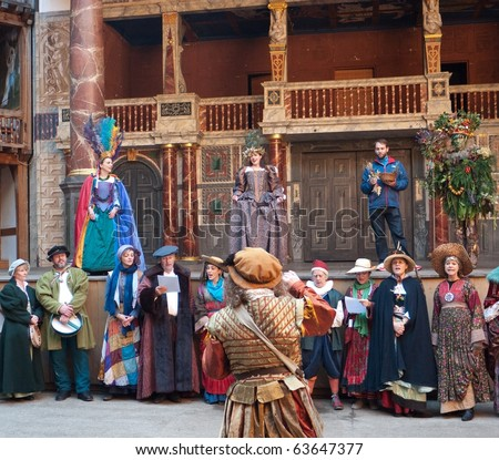 LONDON, UK- OCTOBER 24: The Lions Part Performers At Shakespeare's Globe, Perform The Tempest Masque, Part of October Plenty Annual Harvest Festival, London, October, 24 2010. - stock photo
