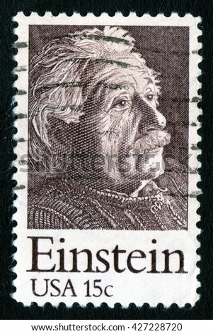 London, UK, October 27 2007 - Vintage 1979 United States of America cancelled postage stamp showing a portrait of Vintage Albert Einstein - stock photo