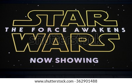 London, UK. 23rd December 2015. ILLUSTRATIVE EDITORIAL - Close up,  of the large LED display screen, outside the Odeon Cinema in London's Leicester Square, for the film Star Wars - The Force Awakens.