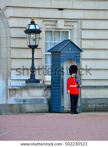LONDON, UK - SEP 27: British Guard on duty on September 27, 2015 in London, UK The ceremony is one of the top attractions in London and UK military traditions.