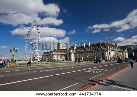 London, UK - 12 Sep 2011:  London Eye seen from the Westminster bridge