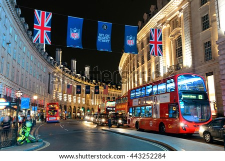 LONDON, UK - SEP 27: London Street view at night on September 27, 2013 in London, UK. London is the world's most visited city and the capital of UK. - stock photo