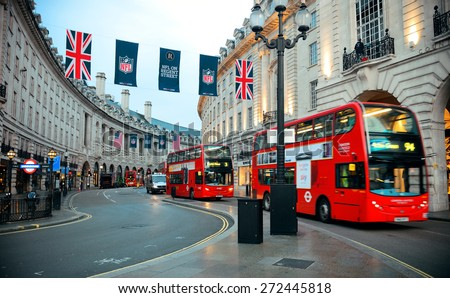 LONDON, UK - SEP 27: Regent Street view on September 27, 2013 in London, UK. London is the world's most visited city and the capital of UK. - stock photo