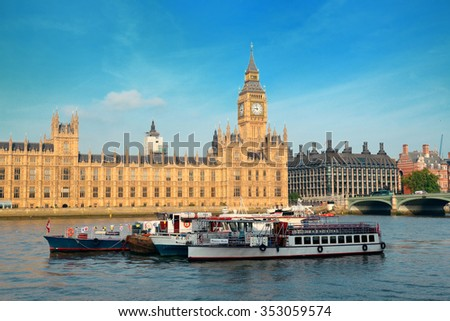 LONDON, UK - SEP 27: Westminster district with historical architecture on September 27, 2013 in London, UK. London is the world's most visited city and the capital of UK. - stock photo
