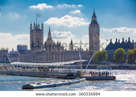 LONDON, UK - SEPTEMBER 10, 2015: Big Ben and Houses of Parliament. View from the River Thames embankment  - stock photo