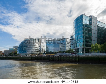 LONDON/UK - SEPTEMBER 12 : City Hall and Other Modern Buildings along the River Thames in London on September12, 2016. Unidentified people