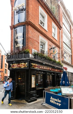 LONDON, UK - SEPTEMBER 26, 2014: Jamie's Italian restaurant, a chain owned by renowned chef Jamie Oliver which has recently opened Soho on September 26, 2014 in London, UK. - stock photo