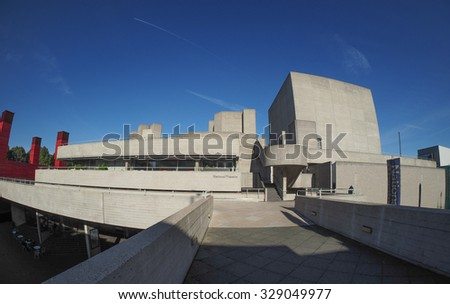 LONDON, UK - SEPTEMBER 28, 2015: The National Theatre designed by Sir Denys Lasdun is a masterpiece of new brutalist architecture seen with fisheye lens