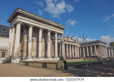 LONDON, UK - SEPTEMBER 28, 2015: Tourists visiting the British Museum