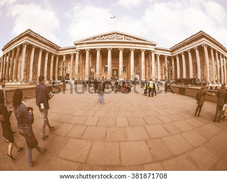 LONDON, UK - SEPTEMBER 28, 2015: Tourists visiting the British Museum vintage