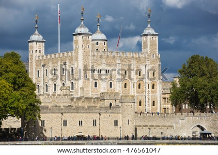 LONDON, UK - SEPTEMBER 19, 2015: Tower of London view from the River Thames embankment