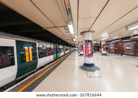 LONDON, UK - SEPTEMBER 29, 2013: View of Liverpool Street station (1874) - central London railway terminus and connected London Underground station in north-eastern corner of London - stock photo