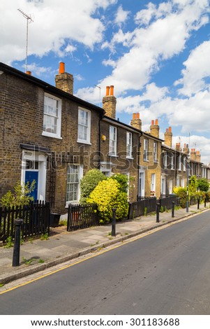 LONDON, UK - 21ST JULY 2015: Terrace houses in London in Greenwich. The outside design and style can be seen.