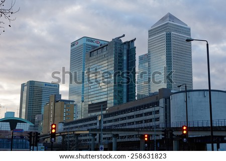 LONDON, UK - 1st MARCH 2015:  Canary Wharf skyscrapers in London