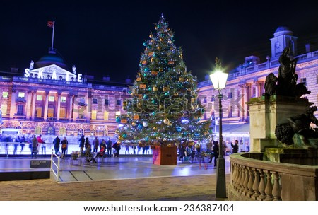 LONDON, UK - 6TH DECEMBER 2014: The beautiful Somerset House in London during Christmastime on 6th December 2014.