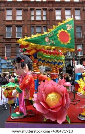 London, UK. 14th Feb, 2016. Colourful festive floats at London for the Chinese New Year.